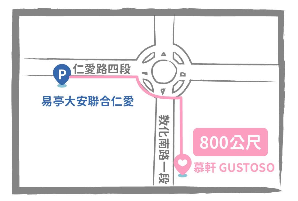 易亭大安聯合仁愛(eTag新增場次) 台北市大安區仁愛路四段10號,停車場距離餐廳約 11 分 (800 公尺)